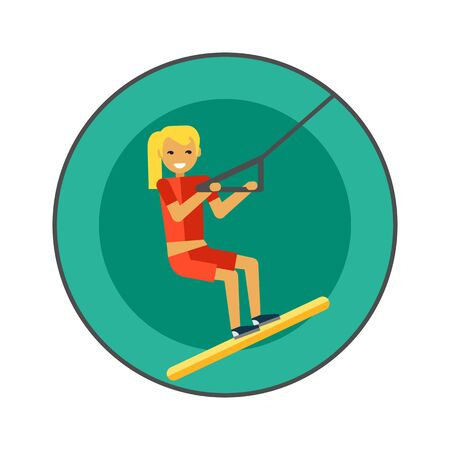 thrilling: Female water skier icon. Colored vector icon of young female character water skiing