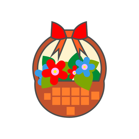 flower basket: Flower basket vector icon. Colored line illustration of basket with flowers decorated with red bow