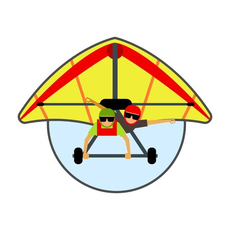hang glider: Hang glider icon. Colored vector illustration of hang glider with two male gliders Illustration