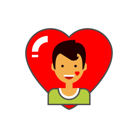 male portrait: Heart and male portrait icon. Colored line icon of happy male character with kiss trace on check on red heart background