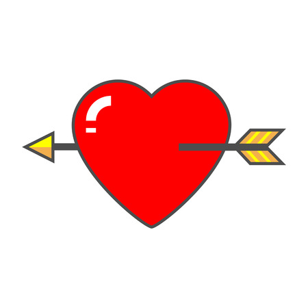 pierced: Heart with arrow vector icon. Colored line icon of heart pierced with love arrow Illustration