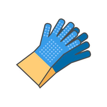 gripper: Household gloves vector icon. Colored line icon of pair of household gloves with gripper dots on fingers and palm