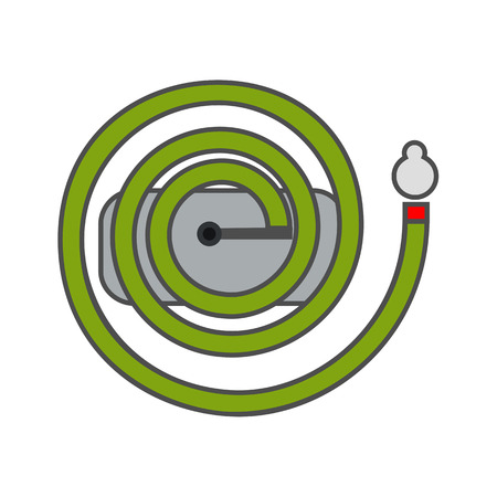 irrigation: Irrigation hose vector icon. Colored line icon of long irrigation hose