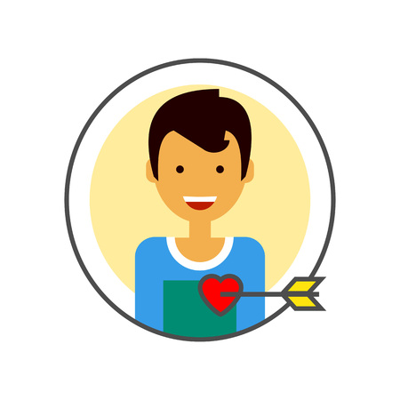 pierced: Loving male portrait vector icon. Colored line icon of happy male character portrait with heart pierced with love arrow