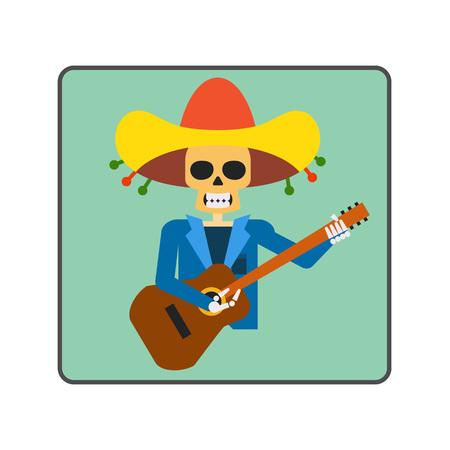 ballad: Mariachi skeleton guitar player line icon. Illustration of skeleton figure representing guitar player from Mariachi band Illustration