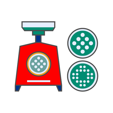 replaceable: Mincing machine vector icon. Colored line icon of electric mincing machine with two replaceable grids Illustration
