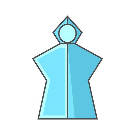 poncho: Rain poncho vector icon. Colored line icon of lightweight rain poncho with hood