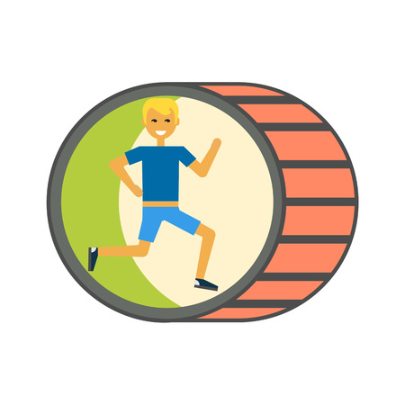 sport man: Running man vector icon. Colored line icon of young male character running inside wheel Illustration