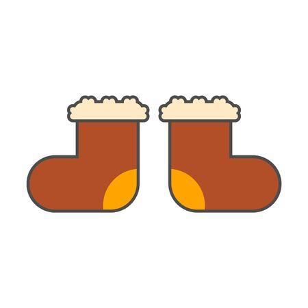 valenki: Russian valenki icon. Colored line icon of special Russian felt boots Illustration
