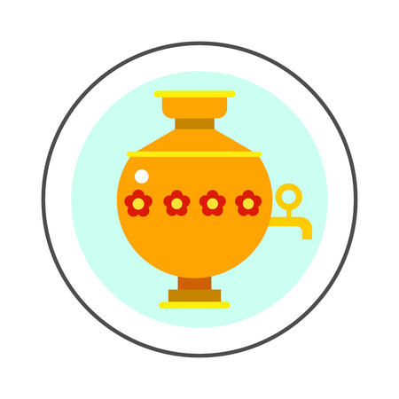 samovar: Samovar vector icon. Colored line icon of special kettle for boiling water for tea in Russia