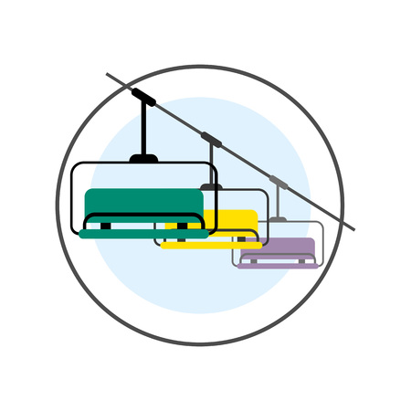chairlift: Ski Lift vector icon. Colored line illustration of ski lift with three benches