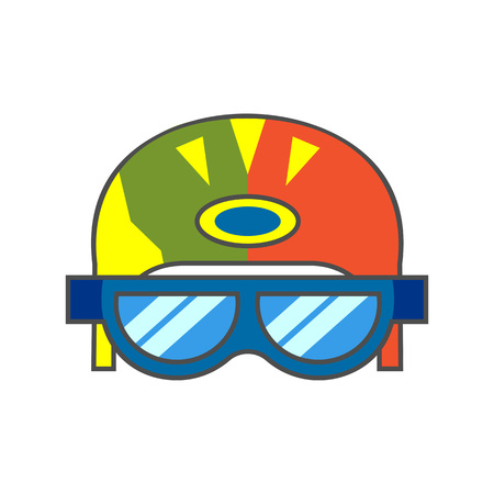 skiers: Skiers helmet vector icon. Colored line icon of skiers helmet with goggles