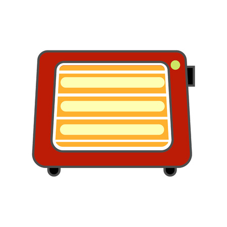 warmness: Space heater vector icon. Colored line icon of portable space heater with switch