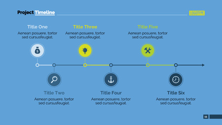 six point: Editable presentation slide template of process chart with six steps in form of icons, arrow drawn from end point, titles, sample text, multicolored version Illustration