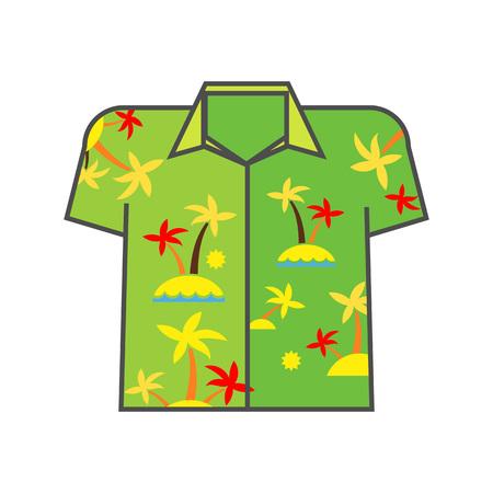 aloha: Aloha shirt vector icon. Colored line icon of shirt with palm trees