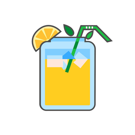 refreshing: Asian summer drink vector icon. Colored line icon of refreshing drink in Asian style Illustration