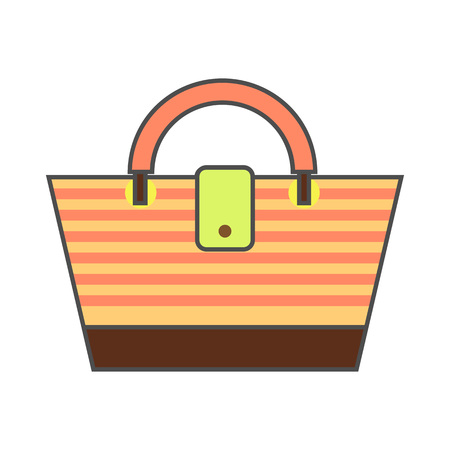 beach bag: Beach bag vector icon. Colored line icon of striped beach bag