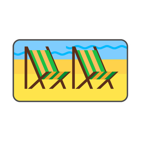 sandy: Beach vector icon. Colored line icon of sandy beach with two beach chairs