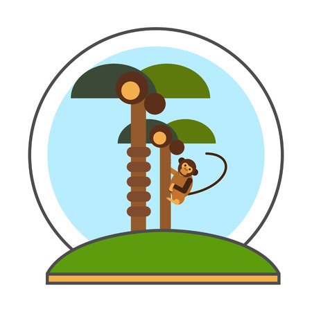 marmoset: Coconut palms with monkey vector icon. Colored line icon of two coconut palm trees and monkey climbing tree Illustration