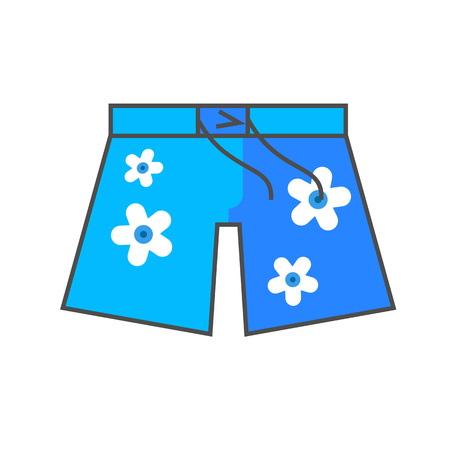 spend the summer: Hawaiian shorts vector icon. Colored line icon of shorts with floral pattern