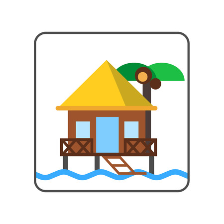 maldives island: Hotel on water icon. Colored line icon of bungalow