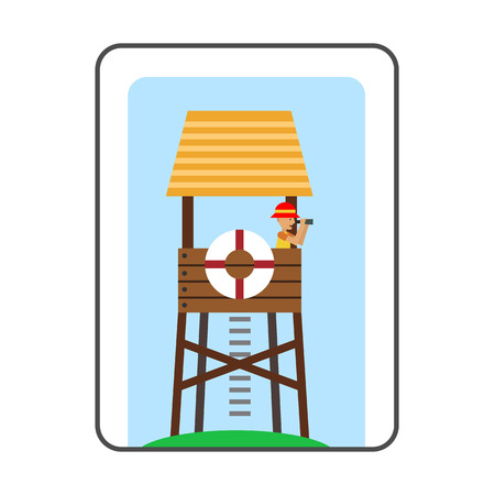 rescuing: Lifeguard tower on beach icon. Colored line icon of lifeguard tower with beach-rescuer watching binoculars Illustration