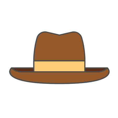 Mans summer hat vector icon. Colored line icon of hat for men