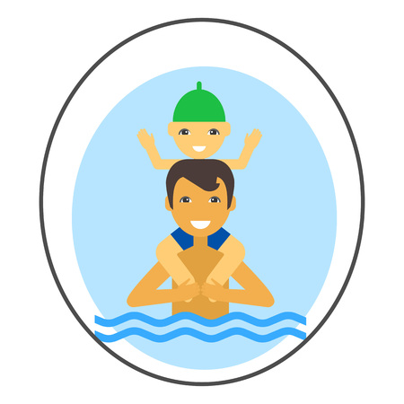 standing in line: Swimming father and child vector icon. Colored line icon of man standing in water and holding boy on his shoulders Illustration
