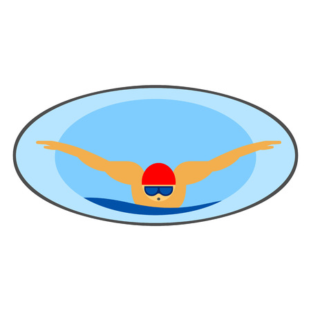 swimming glasses: Swimming vector icon. Colored line icon of male character in swimming hat and glasses swimming in butterfly style