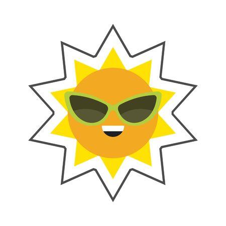 cat's eye glasses: Sun in sunglasses vector icon. Colored line icon of smiling summer sun wearing sunglasses Illustration