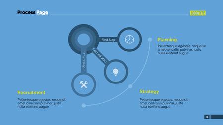 Edytowalne infografika szablon prezentacji slajd przedstawiający kołowy z trzech etapów, wielokolorowe wersji