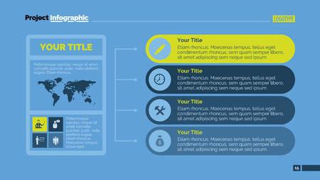 representing: Editable template of presentation slide representing horizontal infographic chart with world map and icons