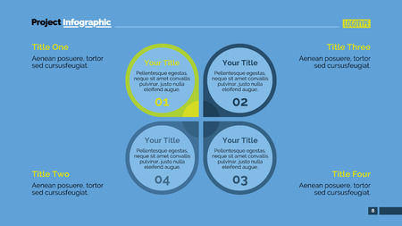 representing: Editable infographic template of presentation slide representing petal diagram with four options, multicolored version
