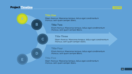 Editierbare Präsentationsfolie Vorlage von Prozessdiagramm mit fünf Schritte in Form von miteinander verbundenen Kreisen in Halbkreis, große transparente Pfeil, Titel, Beispieltext, mehrfarbige Version Vektorgrafik