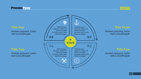 segmented: Editable infographic template of presentation slide representing segmented circle diagram with four steps, multicolored version Illustration