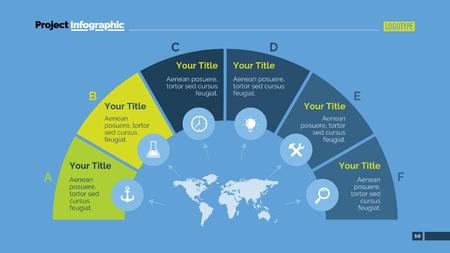 Editierbare Vorlage von Präsentationsfolie darstellt kreatives Halbkreis-Diagramm mit sechs Stufen, Symbolen und Weltkarte