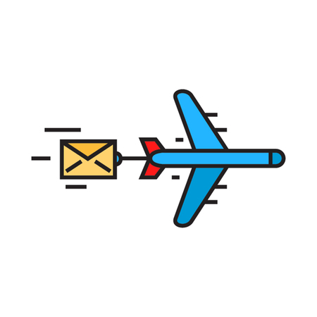 correspondence: Flying airplane carring letter. Airmail, delivery, correspondence, parcel. Airmail concept. Can be used for topics like airmail, correspondence, delivery