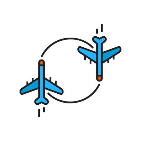 charter: Two airplanes moving round circle. Charter flight, air charter, airplane, trip. Airline concept. Can be used for topics like airport, airline, flight