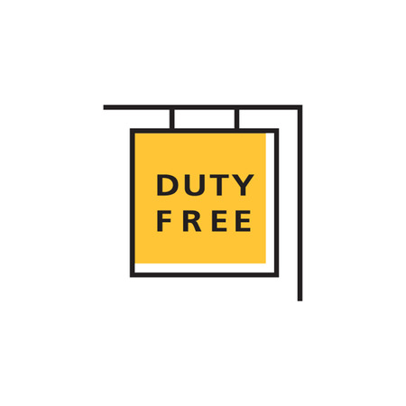 duties: Duty free shop sign. International airport, retail outlet, no taxes and duties. Airport concept. Can be used for topics like airport, shopping, shop