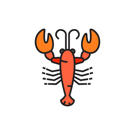 sea creature: Lobster. Marine animal, crustacean, sea creature, seafood. Sea animal concept. Can be used for topics like animal, seafood, restaurant