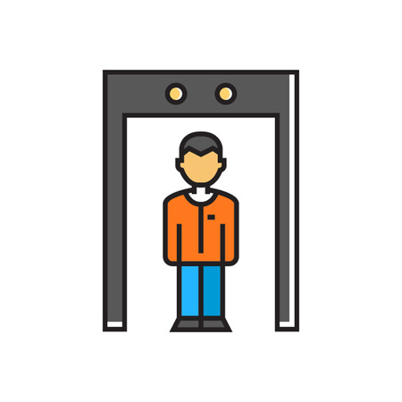 finding: Man walking through metal detector gate. Control, security, safety, body scanner. Airport concept. Can be used for topics like airport, safety, security Illustration