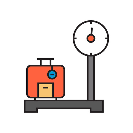weighed: Suitcase standing on scales and being weighed. Airport, luggage, travel. Airport concept. Can be used for topics like airport, service, travel