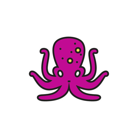 sea creature: Octopus. Marine animall, sea creature, mollusc. Sea creature concept. Can be used for topics like sea animal, ocean, zoology Illustration