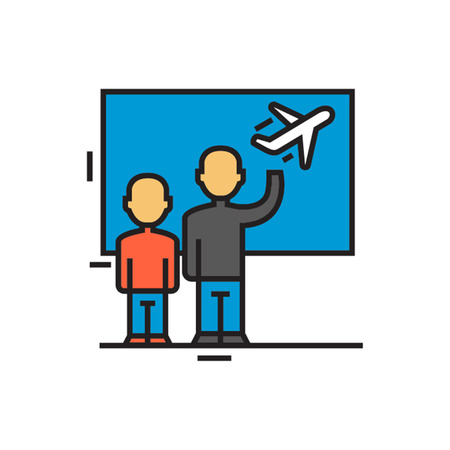 parting off: Two people seeing someone off at airport. Departure, airport terminal, airplane. Airport concept. Can be used for topics like airport, travel, transport