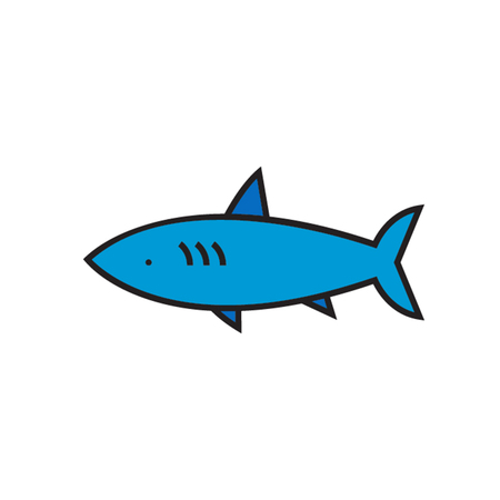 sea creature: Shark. Marine animall,  sea creature, fish. Sea animal concept. Can be used for topics like sea animal, fish, wildlife Illustration