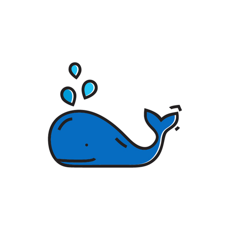 zoology: Smiling whale with water fountain. Marine animal, sea creature. Marine animal concept. Can be used for topics like sea animal, zoology, marine mammals