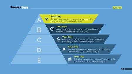 Processchema dia-sjabloon. Bedrijfsgegevens. Grafiek, diagram, ontwerp. Creatief concept voor infographic, sjablonen, presentatie, marketing. Kan worden gebruikt voor onderwerpen als management, bankieren, financiën. Vector Illustratie