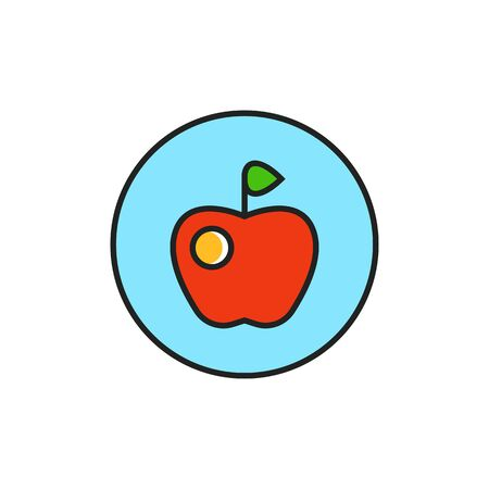 vegetarianism: Apple in circle illustration. Vegan sign, fresh fruit, food. Vegetarian concept. Can be used for topics like vegetarianism, food, lifestyle