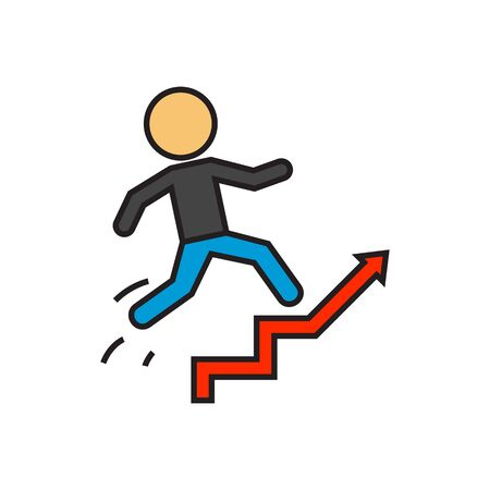 career up: Man running up staircase. Career ladder, promotion, work. Career concept. Can be used for topics like career, work, promotion
