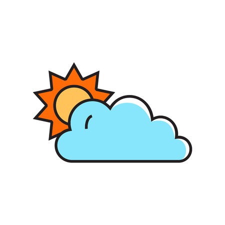 periods: Sun covered with cloud. Cloudy with sunny periods, weather, climate,  forecast. Weather concept. Can be used for topics like weather, climate, meteorology, weather forecast